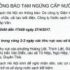 Thông báo tạm ngừng cấp nước từ 6h00 đến 17h00 ngày 27/4/2017 tại một số khu vực thuộc quận Hoàng Mai, huyện Thanh Trì