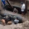 Khắc phục xong sự cố vỡ đường ống nước sạch trên đường Lĩnh Nam